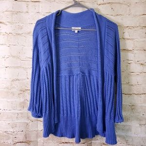 Fossil Blue Open Front Knitted 3/4 Sleeve Cardigan